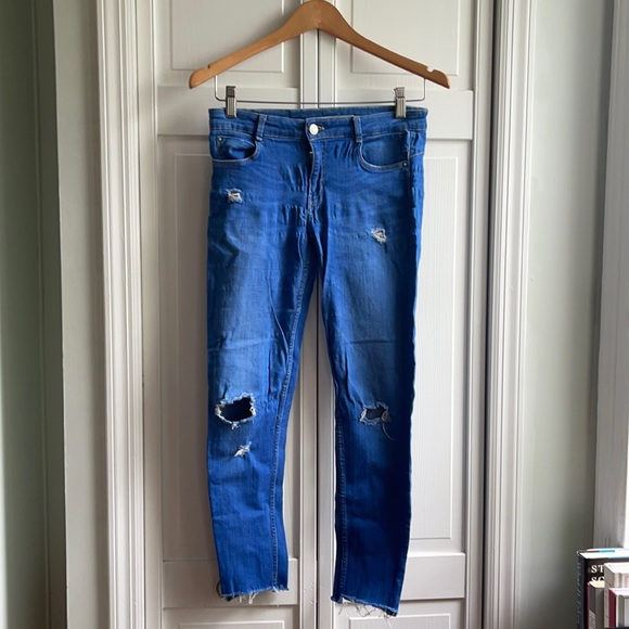 - Zara sky blue skinny jeans